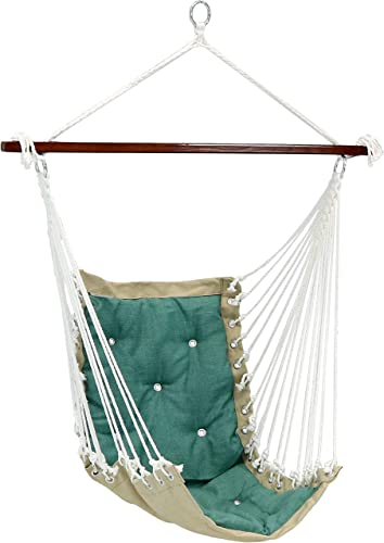 discount Sunnydaze Tufted Victorian Hammock Chair Swing - Large Hanging Chair Seat outlet online sale for Backyard & Patio - Sturdy 300 sale Pound Capacity - Sea Grass online sale