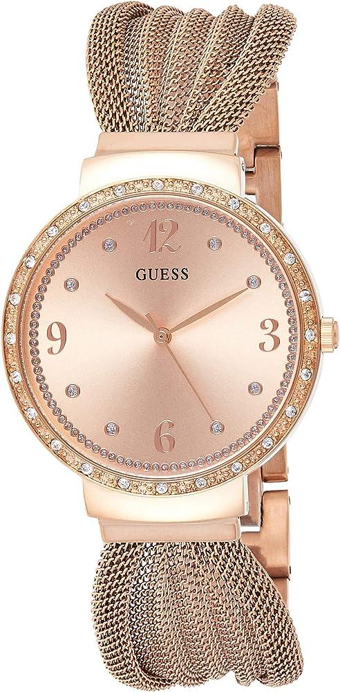 Guess orologio per donna,in acciaio lucido con trattamento ip oro rosa con cristalli W1083L3