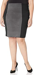 Star Vixen Women's Plus Size Knee Length Slimming Colorblock Ponte Knit Pencil Skirt with Back Slit
