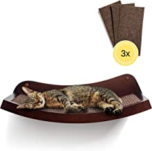 """HumaneGoods 19"""" Deluxe Cat Wall Shelf - Wall-Mounted, Floating Perch with 3X Replaceable Scratch Pads for Adult Cats"""