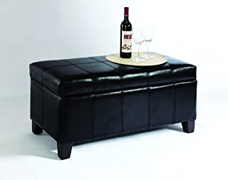 JGW Furniture Storage Ottoman, Black