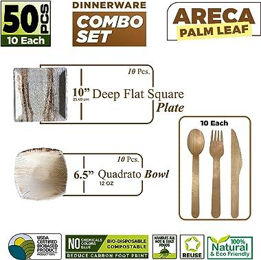 Bio Mart   Palm Leaf Square Combination Dinnerware Set   Eco-friendly Backyard Compostable Biodegradable   Wedding, Birthday,