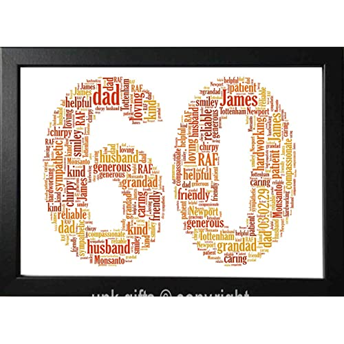 UPK Gifts 60th Birthday Personalised Word Art Print Gift Keepsake Any Age 60 1st 16th 18th