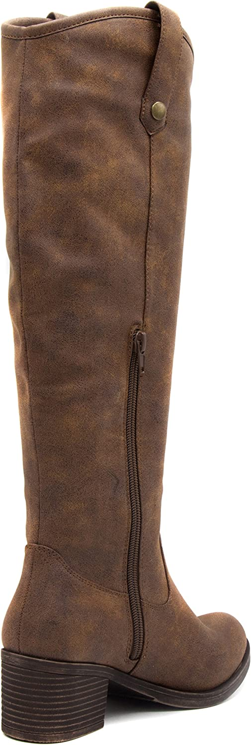 Women's Riding Boots Heeled Knee High Boot with Tall Shaft 10 Dark Brown
