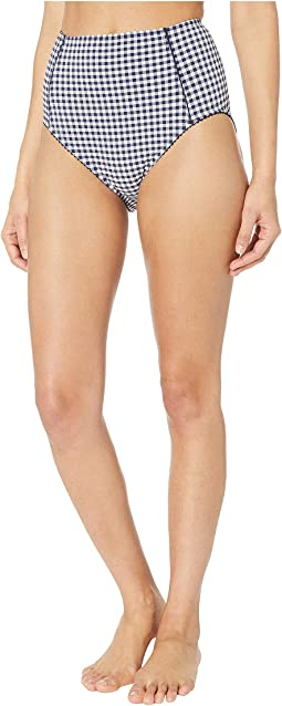 Crosby Landing High-Waisted Bikini Bottoms w/ Piping Detail