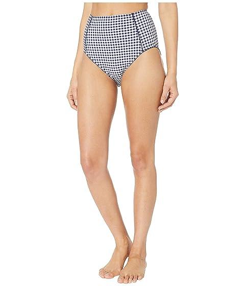 Kate Spade New York Crosby Landing High-Waisted Bikini Bottoms w/ Piping Detail