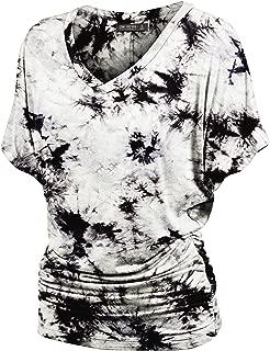 Women's Short Sleeve Crew Neck/V Neck Tie-Dye Ombre Dolman Top - Made in USA