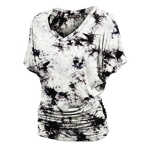LL Womens Short Sleeve Heart Shape Tie-Dye Ombre Dolman Top - Made in USA 517e04103