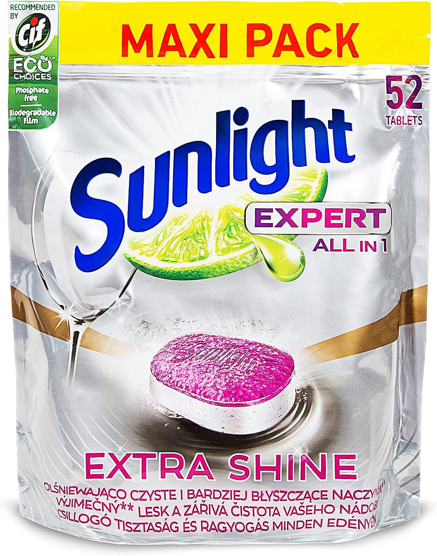 Sunlight - Pastillas para lavavajillas (52 unidades, todo en 1, con fuerza desengrasante, función de sal, protección de cristal y aroma de limón fresco con lámina soluble en agua, en bolsa con cierre)