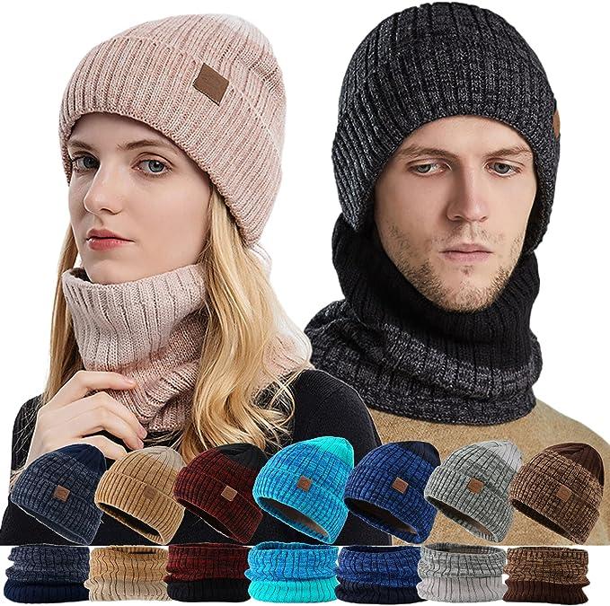 FlekmanArt Unisex Winter Beanie Hats Scarf Set for Men Women's Warm Knitted Hat Slouchy Skull Cap Neck Warmer Ski Caps