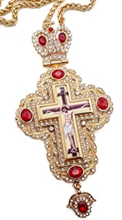 Nazareth Store Pectoral Cross Red Zircons Crystallized Christian Priest Bishop Crucifix Pendant Necklace 20