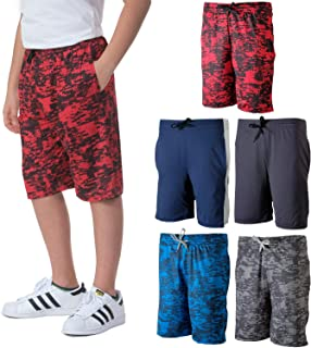 5 Pack: Boys Girls Youth Teen Printed Camo Dry-Fit Sport Active Athletic Shorts