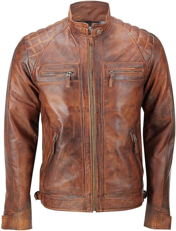 Men's Biker Motorcycle Vintage Brown Distressed Classic Diamond Leather Jacket
