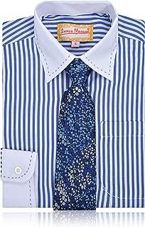 JAMES MORGAN Boys Blue Stripe Shirt and Irridescent Tie
