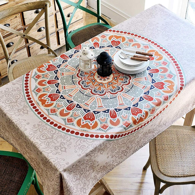Couverture de table Serviette Nappe Coton Lin Rectangle Folk-personnalisé Nappe Imperméable Table Mat Décoration De Table (Couleur   B, Taille   140×240cm)