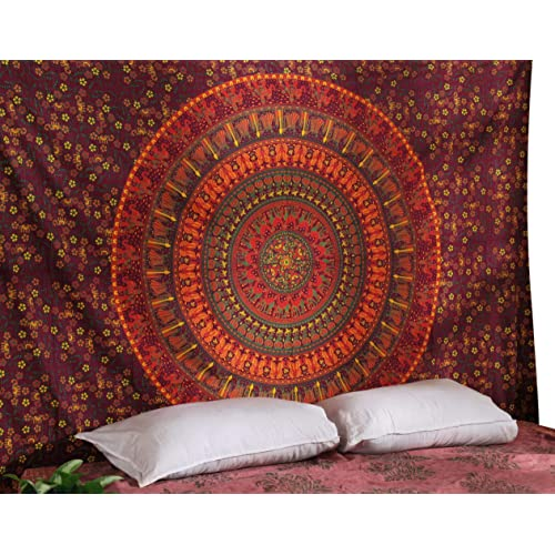 Rajrang Tapestry Hippie Mandala Tapestry Bohemian Floral beach throw wall hanging Tapestry Room Decor Indian Beach Cloth Indian Tapestries Hippie Decorations Hippie Decor Wall Cloth Tapestry
