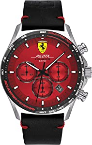 Scuderia Ferrari Men's Pilota Stainless Steel Quartz Watch Leather Calfskin Strap, Black