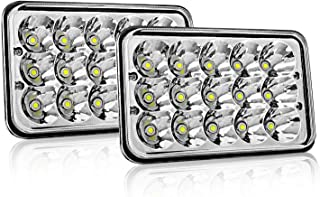 4x6 LED Headlight Sealed Beam AAIWA 45W Headlight Replacement 6x4 Conversion Kit for Kenworth KW 900 Peterbilt 379 H4651 H4666 H4656 H6545 4652 Ford Truck Chevy K10 K20 Van RV Camper Headlamp Assembly