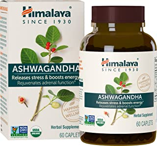 Himalaya Ashwagandha 670mg Organic Ashwagandha Root Powder Extract, Ashwagandha Anti Anxiety Supplement for Stress-Relief, Adrenal Support and Energy Boost, 60 Caplets, 2 Month Supply