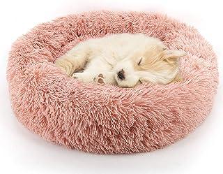 Sunshine smile Cama para Mascotas Deluxe Plush,Camas de Gatos Perros de Donut,Suave Redondo Mascotas Cojín,Sofá Redondo de Felpa para Gatos (Rosa)