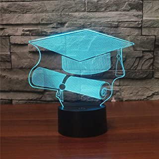 Bachelor Cap Black Base Creative 3D LED Decorative Night Light, USB with Touch Button Version High Quality