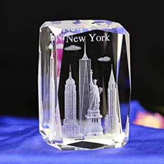 Duosuny 3D Laser Crystal New York with Gift Box, Anniversary & Paperweight, Christmas Birthday Valentines Wedding Gift