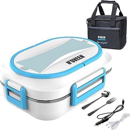 N'OVEEN Lunch box électrique LB520 chauffe-plats, plaque chauffante thermo lunch box d'une capacité de 1 litre - 230V + 12V (voiture) - Plaque chauffante food box jusqu'à 60 ° C pour voyages, camping