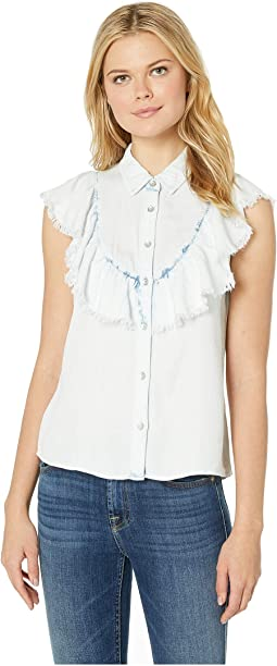 Frayed Flutter Bib Button Front Top