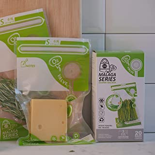 FOSA Reusable Vacuum Food Storage Bags Vacuum Zipper Bag, Small (6 x 10 inches), 20 Pack