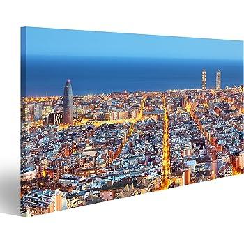 islandburner Cuadro Horizonte de Barcelona, Vista aérea en la Noche, España Impresión sobre Lienzo - Formato Grande - Cuadros Modernos JNU: Amazon.es: Hogar