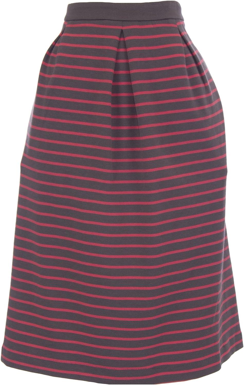 BODEN Women's Striped Lexington Skirt US Sz 18L Pink Grey