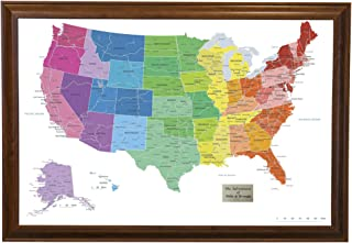 Push Pin Travel Maps Personalized Colorful USA with Brown Frame and Pins - 27.5 inches x 39.5 inches