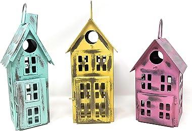 Metal Bird House Decor | Decorative Bird Houses for Indoor or Outdoor Hanging | Farmhouse Country Decor BirdHouses (Set of 3)