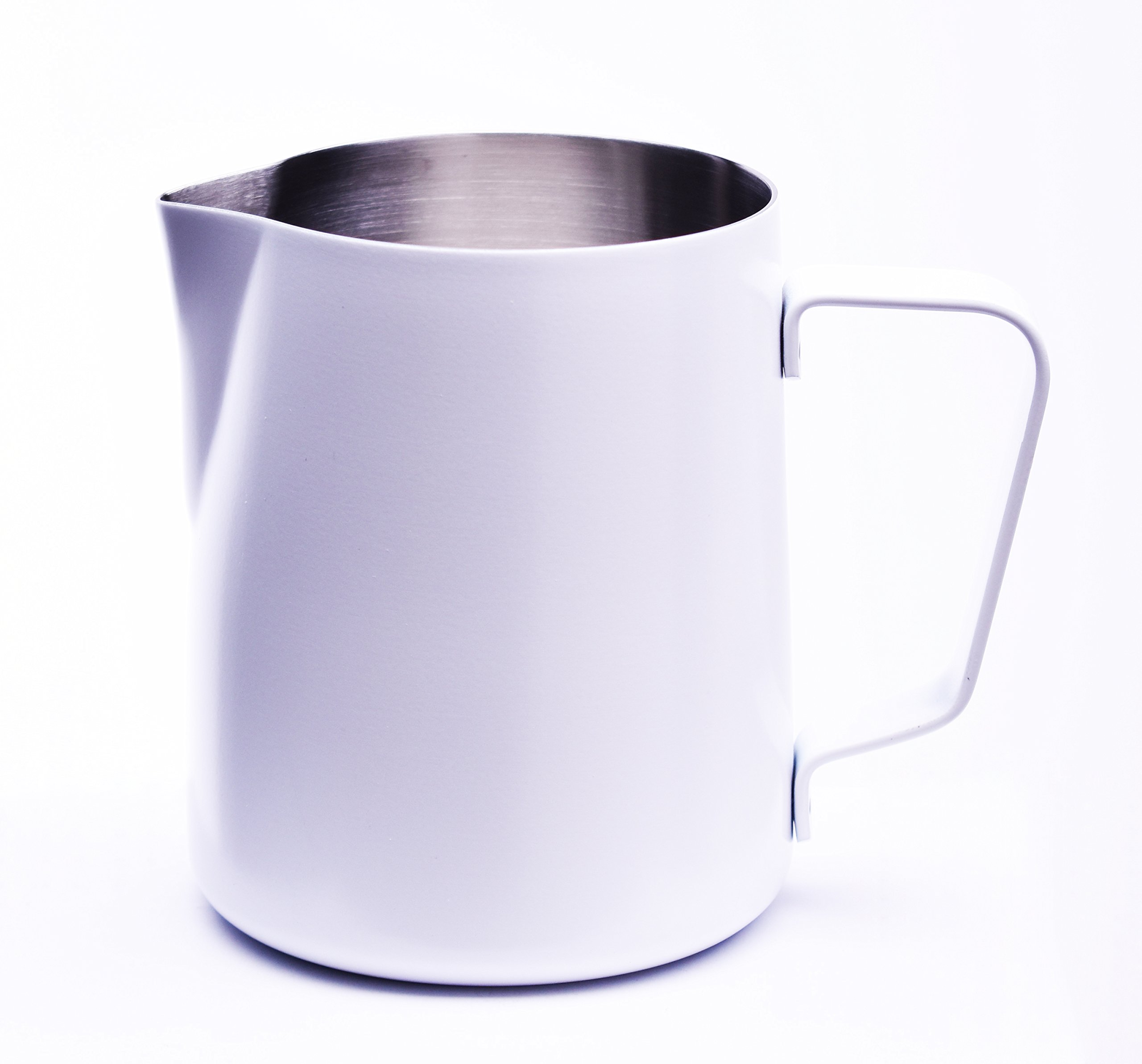Milk Pitcher White,Steaming and Frothing Milk Pitcher 20 oz powder coated