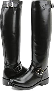 FAMMZ Raven Mens Man Motorcycle Highway Police Engineer Trooper Patrol Leather Tall Riding Boots