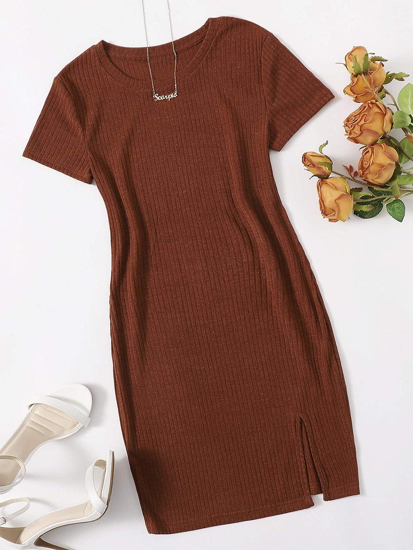 Milumia Women's Elegant Ribbed Knit Split Hem Short Sleeve Bodycon Pencil Mini Dress