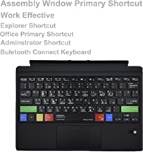 Work Efficiency Russian Language Type Cover Assembly Window Notepad Paint Explorer Shortcuts Ultra-Slim Wireless Bluetooth Keyboard with Trackpad for Microsoft Surface Pro 3 4 5 6