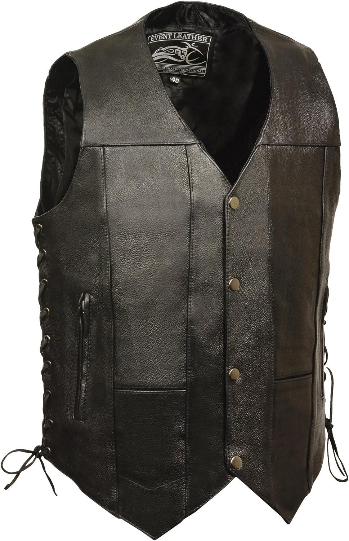 Event leather Men's Single Panel Back 10 Pocket Vest with 6 Inside Pocket