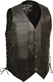 Event leather Men's Single Panel Back 10 Pocket Vest with 6 Inside Pocket (Black, X-Large)