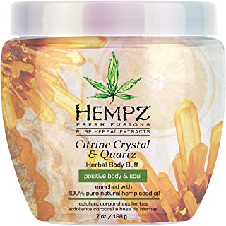 Hempz Herbal Body Buff, Fresh Fusions Citrine Crystal & Quartz, 7 oz. - Natural Body Scrub with 100% Pure Hemp Seed Oil, S...