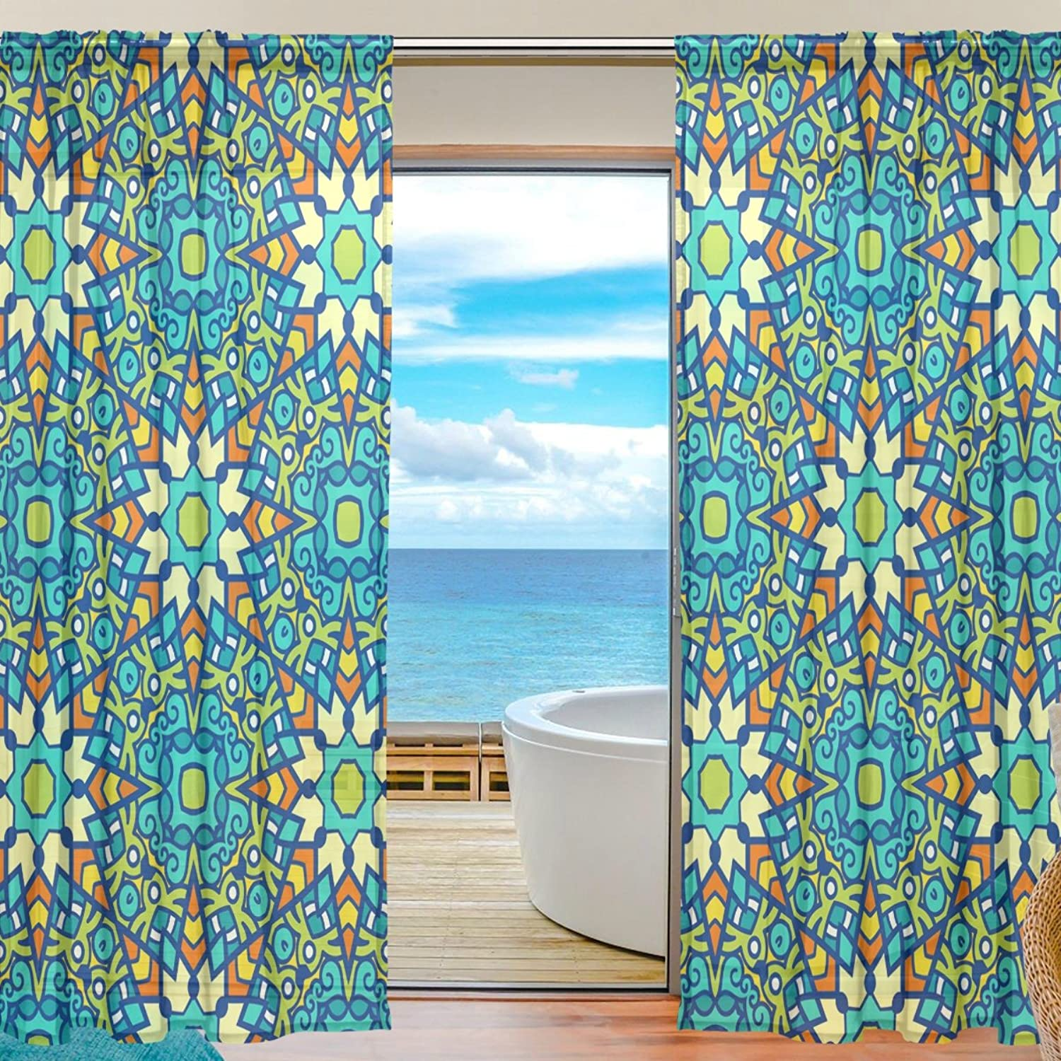 Vantaso Sheer Curtains 78 inch Long Oriental Retro Style Floral for Kids Girls Bedroom Living Room Window Decorative 2 Panels