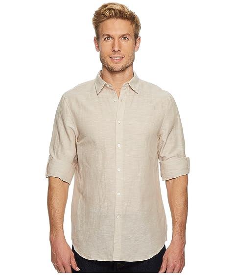 mangas liso de lino natural Camisa de de con algodón enrolladas Ellis Lino Perry wdYIBwUq