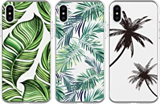 iPhone Xs Case, iPhone X Case, 3 Pcs Colorful Painting Patterns Kawaii Palm Tree Leaves and Coconut Leaves Case Shock Resistant Flexible Soft TPU Case Rubber Bumper Shell Silicone Ultra Slim Cover