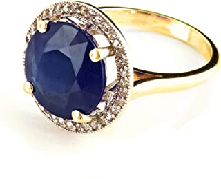 Galaxy Gold 14K. SOLID GOLD RING HALO DESIGN WITH NATURAL DIAMONDS & SAPPHIRE