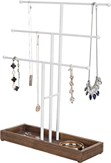 MyGift 3-Tier White Metal T-Bar Jewelry Display Stand with Wooden Ring Tray