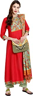 Indian Tunic Tops Poly Silk Kurti with Dupatta for Women