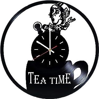 ساعة حائط Alice in Wonderland Tea Time من الفينيل - ديكور لغرفة الأطفال أو غرفة الأطفال - أفكار لهدية للأطفال والأطفال وال...