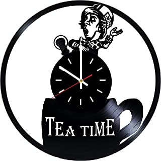 Alice in Wonderland Tea Time Vinyl Record Wall Clock - Kids room or Nursery Room wall decor - Gift ideas for children, kids, sister and brother, teens - Adventure Cartoon Unique Art Design