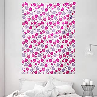 Valentine Tapestry, Heart Shaped Lollipops Candies with Spirals Cute Romantic Love Theme Pattern, Wall Hanging for Bedroom...