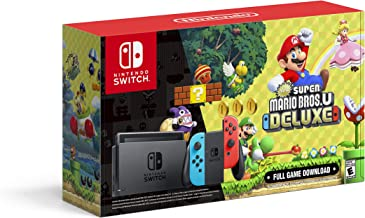 $499 » Nintendo Switch with Neon Blue and Neon Red Joy‑Con + New Super Mario Bros. U Deluxe (Full Game Download) - Switch Console